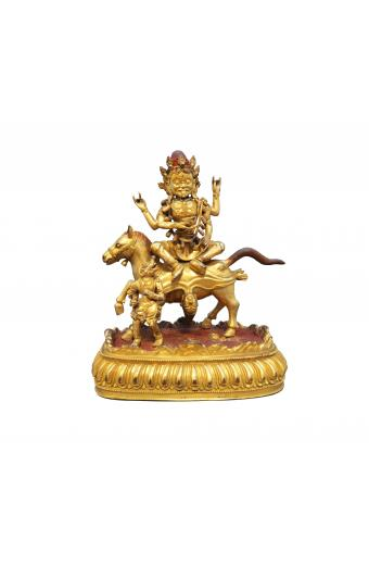 An exceptionally fine gilt and painted bronze figure of Palden Lhamo Tibet Chine