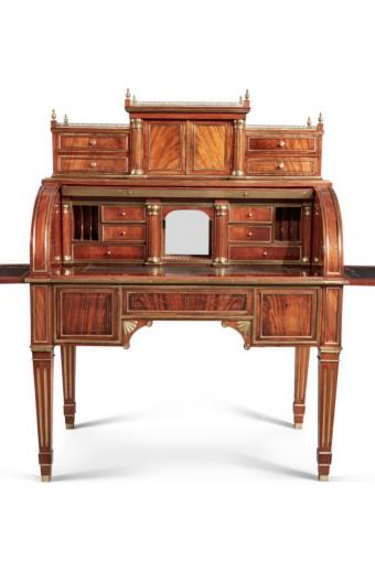 A Russian Neoclassical Brass Mounted Mahogany Cylinder Desk, Late 19th/Early 20th Century
