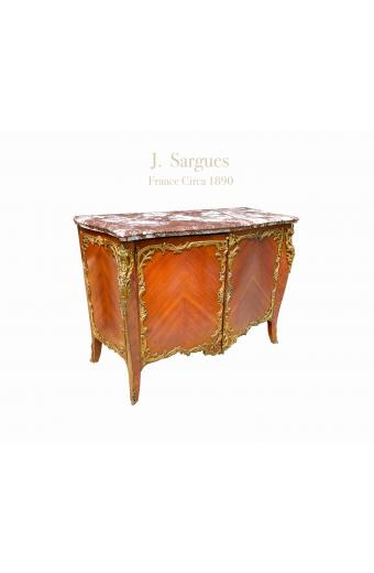 Late 19th Century French Ormolu Mounted Marble Top Commode By J. Sargues