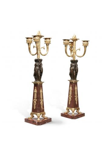 A Pair of Empire Patinated and Gilt Bronze and Rouge Griotte Marble Three-Light Candelabra, Circa 1815