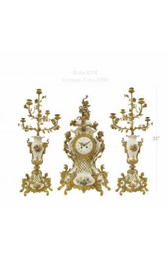 19th C. Ormolu Mounted Berlin KPM Porcelain Clock Set. Circa 1890