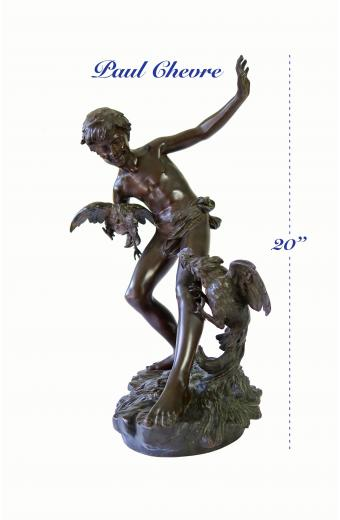 19th C. French Patinated Bronze Statue of The Cockfights By PAUL ROMAIN CHÈVRE