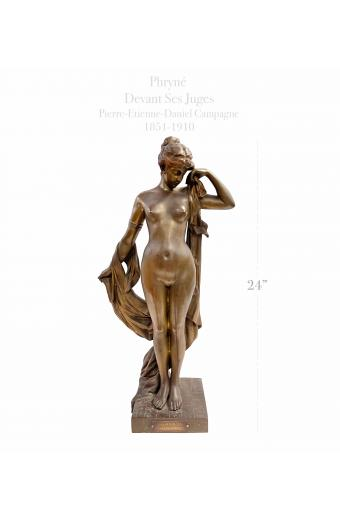 19th C. French Patinated Bronze Statue Of Pryne By Pierre-Etienne-Daniel Campagne 1851-1910