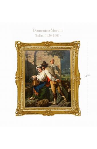 19th C. Italian Oil On Canvas Of A Couple By Domenico Morelli (Italian, 1826-1901)