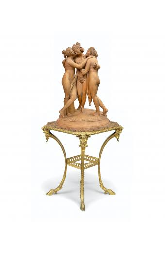 A Large Early 20th C. French Terra Cotta Group of the Three Graces
