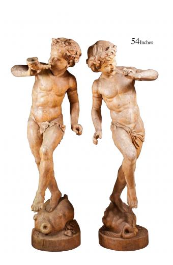 LARGE PAIR OF CLASSICAL CARVED WOOD FIGURES, SEMI-NUDE MALE FIGURES WITH FLUTE
