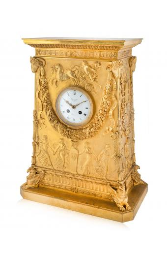 An Empire Style Gilt-Bronze Mantel Clock Paris, Late 19th Century, After the Model Designed by Percier Et Fontaine
