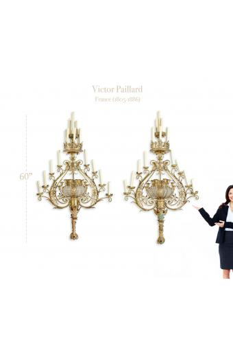 A Monumental Pair of Belle Epoque Wall Sconces by Victor Paillard (1805-1886)
