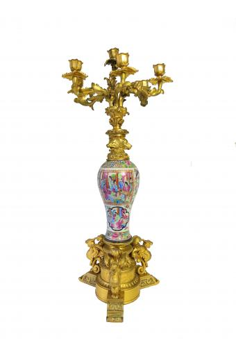 19th C. French Ormolu Bronze Mounted Chinese Porcelain Figural Candelabra