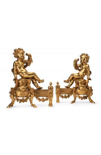 A pair of Louis XVI style gilt bronze figural chenets Paris, 19th century