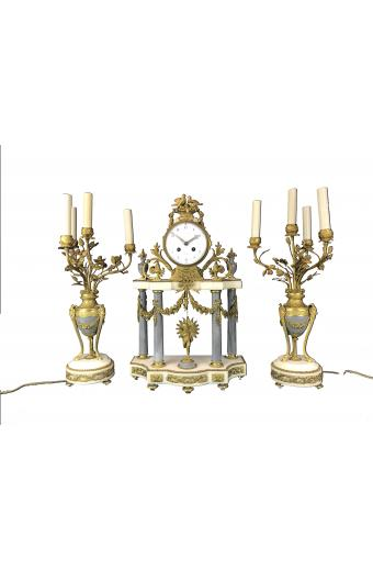 19th C. French Gilt Bronze & and Marble Clock Set By La Roy