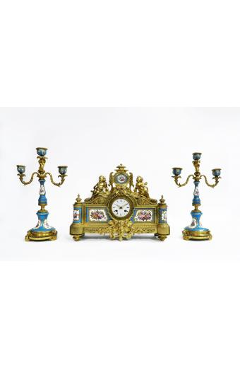 19th C. Bronze & Sevres Porcelain Figural Clock Set By Tiffany & Co