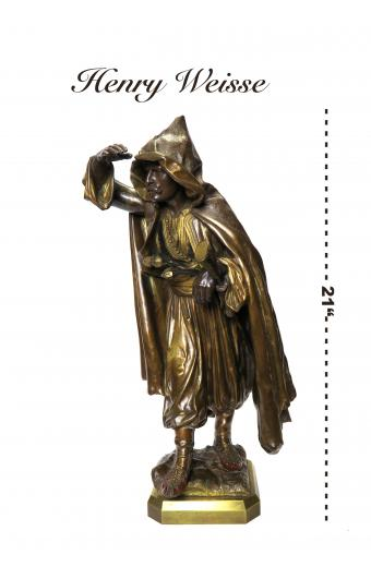 A Patinated Bronze Arab Figure By Henry Weisse