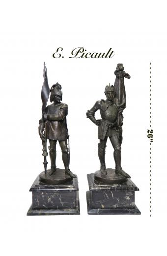 A Pair Of 19th C. French Patinated Bronze Statue Of Soldiers By Picault