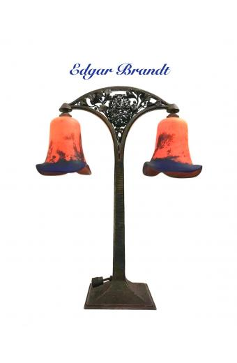 Edgar Brandt and Daum Wrought Iron & Glass Table Lamp