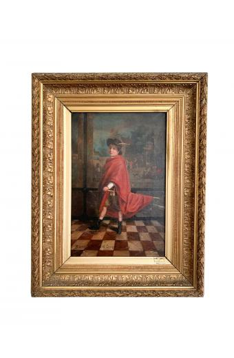 19th C. French Oil On Canvas Painting Of A Chevalier Signed And Dated 1888