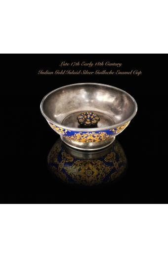 Late 17th Early 18th C. Indian Mughal Gold Inlaid Silver Guilloche Enamel Cup