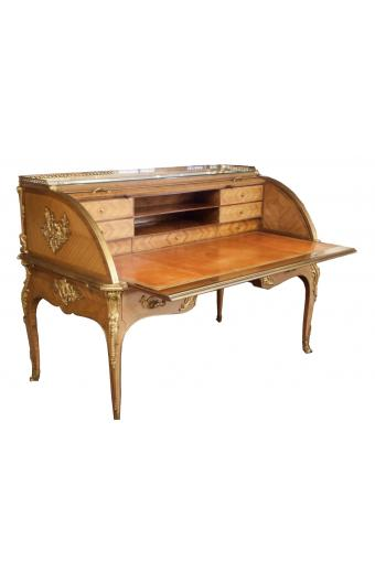 19TH C. FRENCH ORMOLU MOUNTED KINGWOOD CYLINDER DESK BY HENRY DOSSAN DATED 1889