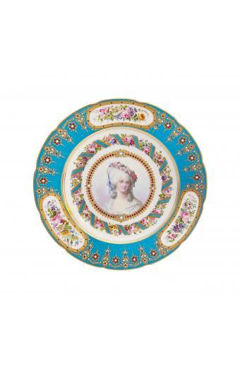 18th Century Sevres Hand Painted Blue Celeste-Ground Plate Depicting Portrait of Marie Thérèse Louise of Savoy, Princesse De Lamballe