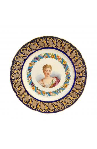 18th Century French Sevres Hand Painted Cobalt Blue Grounded Portrait of Marguerite De Lussan Plate