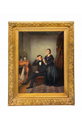 19th C. French Oil On Canvas Painting By Antoine Gibert, 1806 - 1875