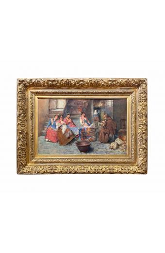 Augusto Daini (1860-1920 Italian) Interior Scene With Peasant Women and Monk